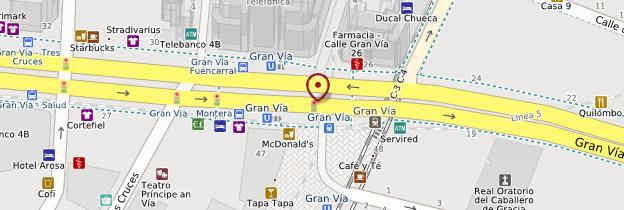 Carte Quartier de la Gran Vía - Madrid