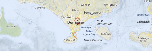 Carte Denpasar et la côte Sud - Bali