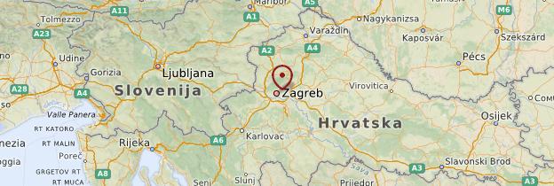 Carte Zagreb et sa région - Croatie