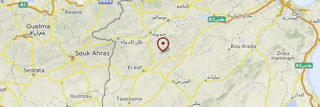 Carte Circuit des sites antiques - Tunisie