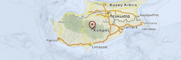 Carte Région du Troodos - Chypre