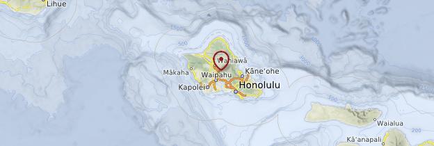 Carte Île d'Oahu - Hawaii