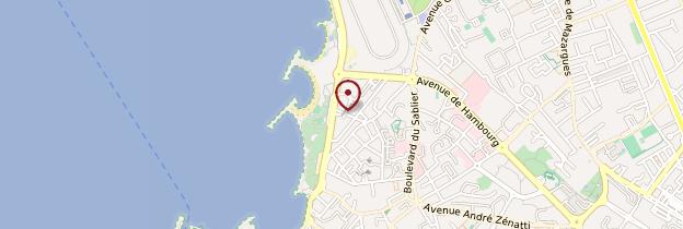 Carte Plages du Prado et quartiers Sud - Marseille