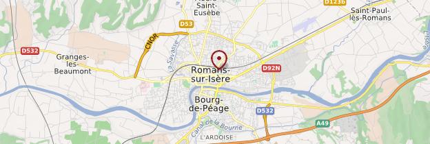 Carte Romans-sur-Isère - Ardèche, Drôme