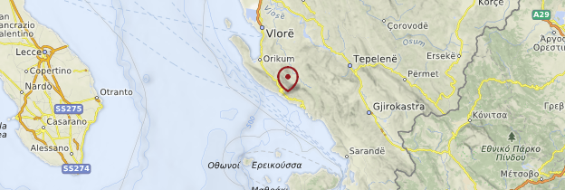 Carte Côte et Riviera albanaise - Albanie