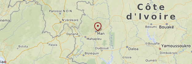 Carte Région des 18 Montagnes - Côte d'Ivoire