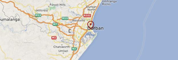 Carte Région de Durban - Afrique du Sud