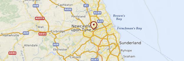 Carte Newcastle-upon-Tyne - Angleterre
