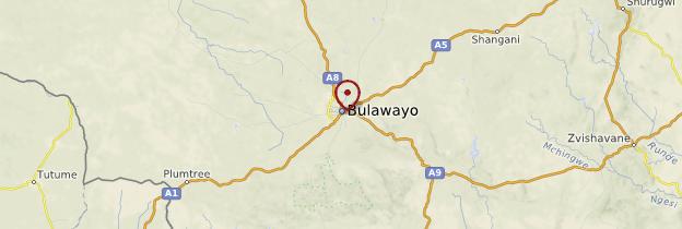 Carte Bulawayo - Zimbabwe