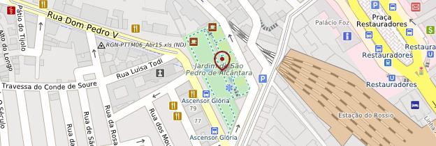 Carte Miradouro São Pedro de Alcântara (belvédère) - Lisbonne