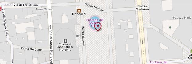 Carte Fontana dei Quattro Fiumi (fontaine des Quatre-Fleuves) - Rome