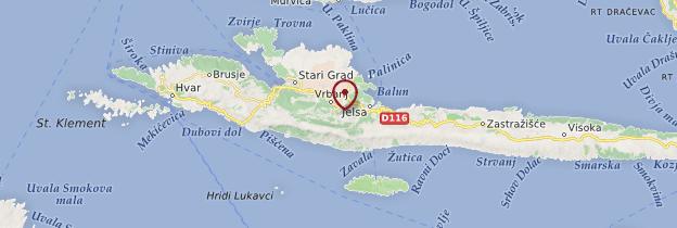 Carte Île de Hvar - Croatie