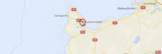 Carte Péninsule de Reykjanes - Islande