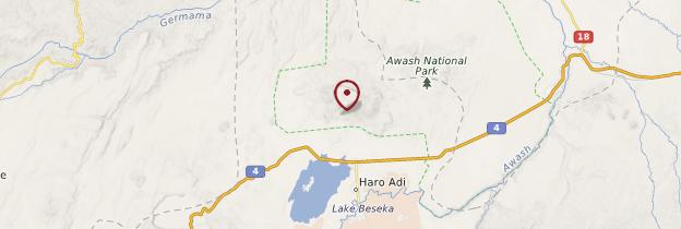 Carte Parc national d'Awash - Éthiopie