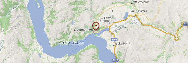 Carte Queenstown - Nouvelle-Zélande