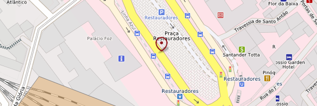 Carte Praça dos Restauradores (pl. des Restaurateurs) - Lisbonne