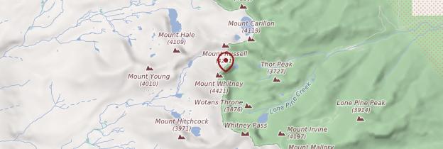 Carte Mont Whitney - Parcs nationaux de l'Ouest américain