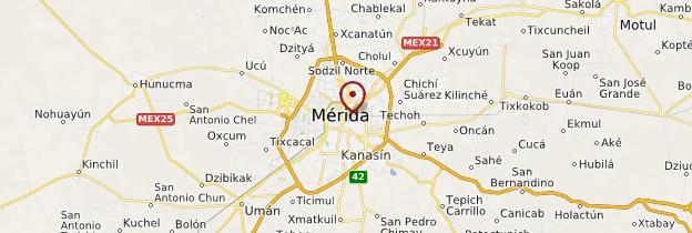 Carte Mérida - Mexique