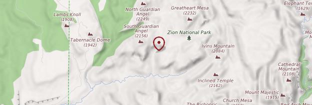 Carte Zion National Park - Parcs nationaux de l'Ouest américain
