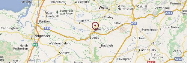 Carte Glastonbury - Angleterre
