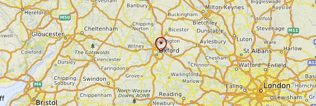 Carte Oxfordshire - Angleterre